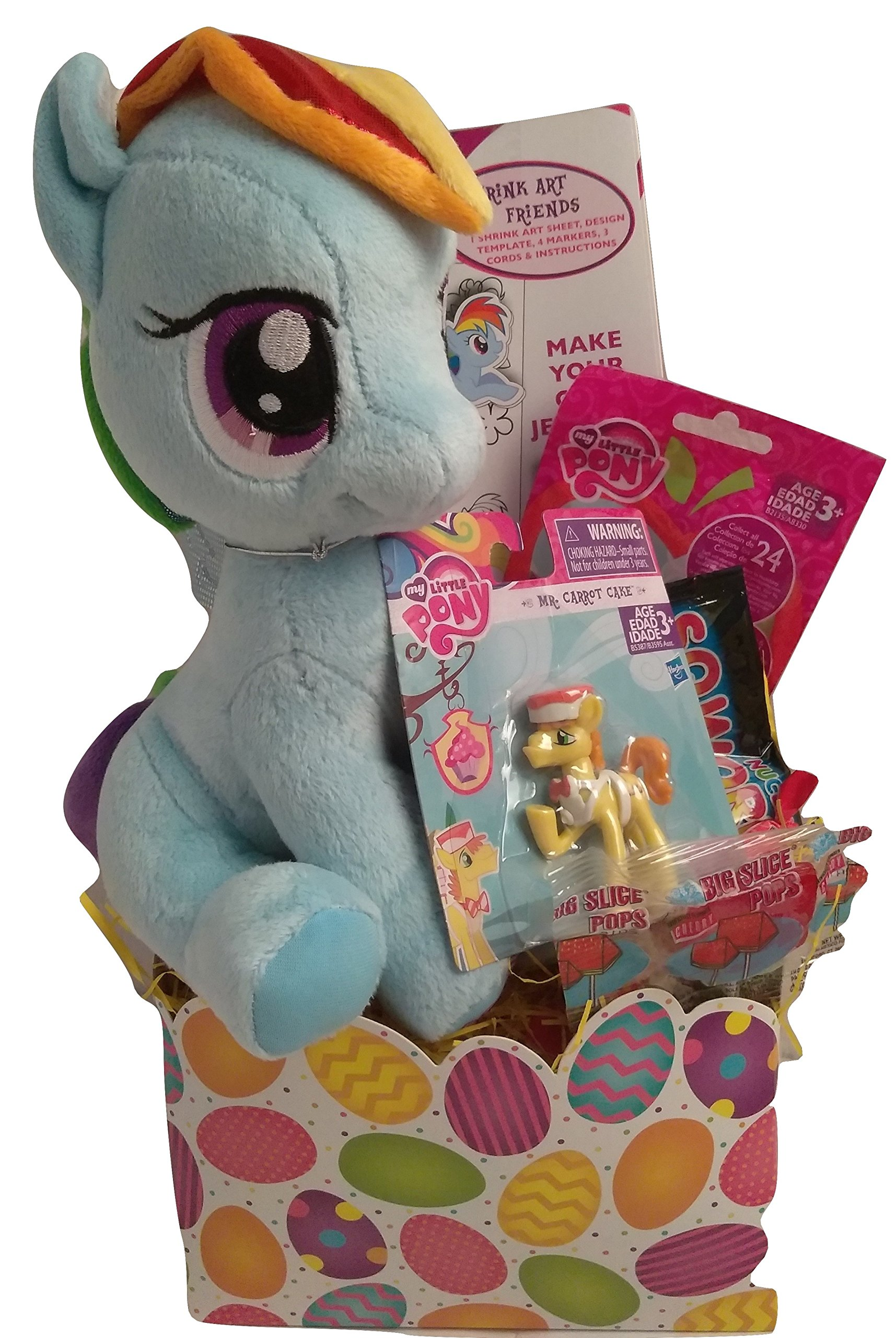 Happy Girls My Little Pony Figure Easter Basket Kids Toddlers Gift Children Pre Made Eggs Goodies Candy Plush