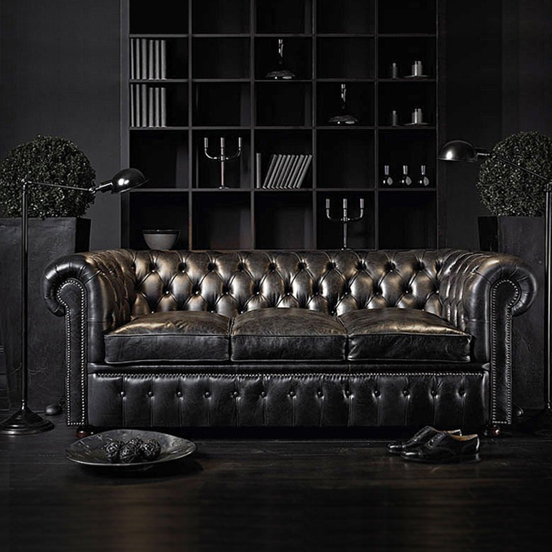 Европейская мебель для гостиной, диван, набор кожаного дивана Chesterfield