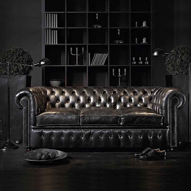 European Living Room Furniture Sofa Set Of Chesterfield Leather Sofa