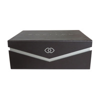 Black flip-top rigid chocolate sweet box with magnet and divided insert