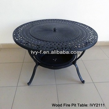 Patio Casting Aluminum Wood Fire Pit Table With Bowl Grate Spark Guard Mesh