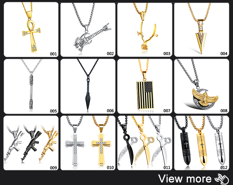 Punk Style Cool Stainless Steel Gun Design Black Necklace For Men