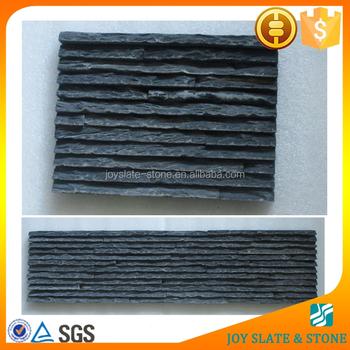 Exterior Or Interior Wall Cultured Stone Tile Panels Black Slate Waterfall Veneer