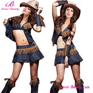 USA country girl blue denim sexy cowgirl costume