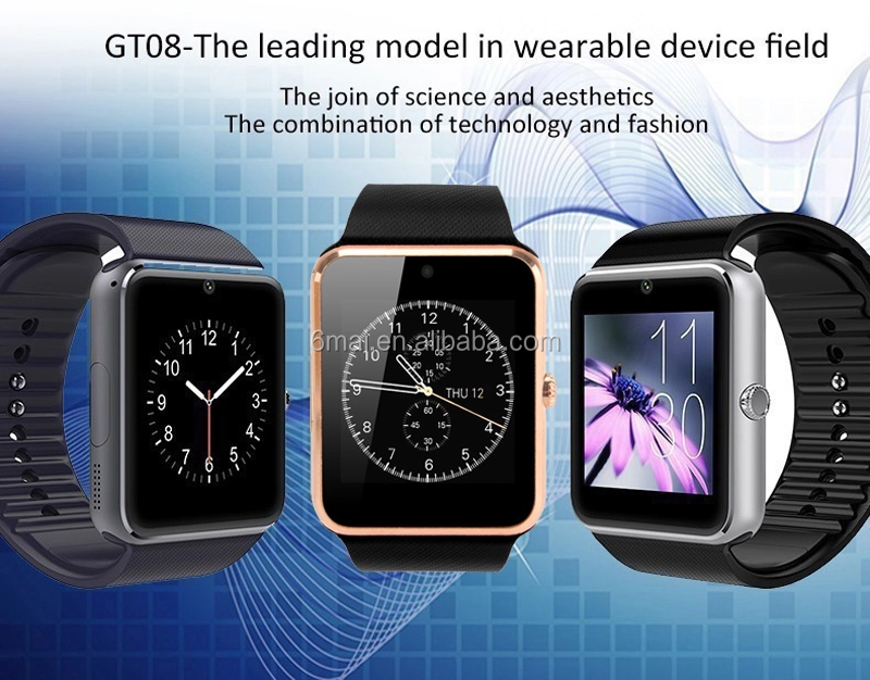 GT08 Bluetooth Smart Watch With Touch Screen Big Battery Support TF Sim Card Camera For IOS iPhone Android Phone