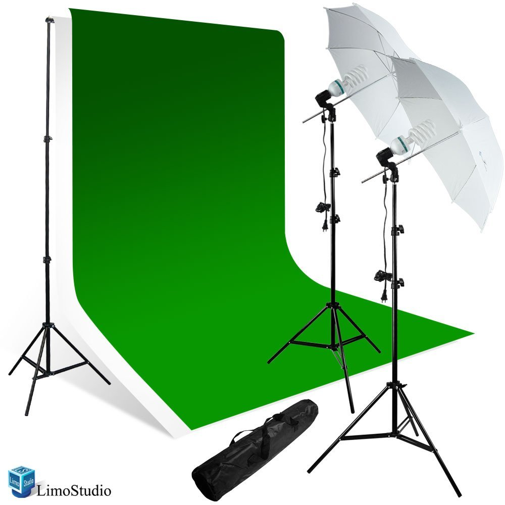 LimoStudio 800-840W Photography Studio Continuous Lighting Kit, 10 x 10 ft. Muslin Backdrop, Photo Studio Backdrop Equipment, Photo Portrait Umbrella Light, Green Chromakey and White Backdrop, AGG237