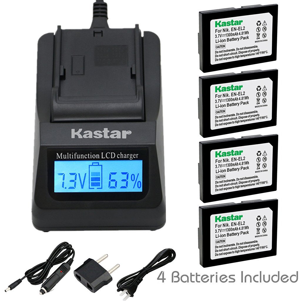 Kastar Ultra Fast Charger(3X faster) Kit and Battery (4-Pack) for Nikon EN-EL2 work with Nikon Coolpix 2500, Nikon Coolpix 3500, Nikon Coolpix SQ500 Digital Cameras