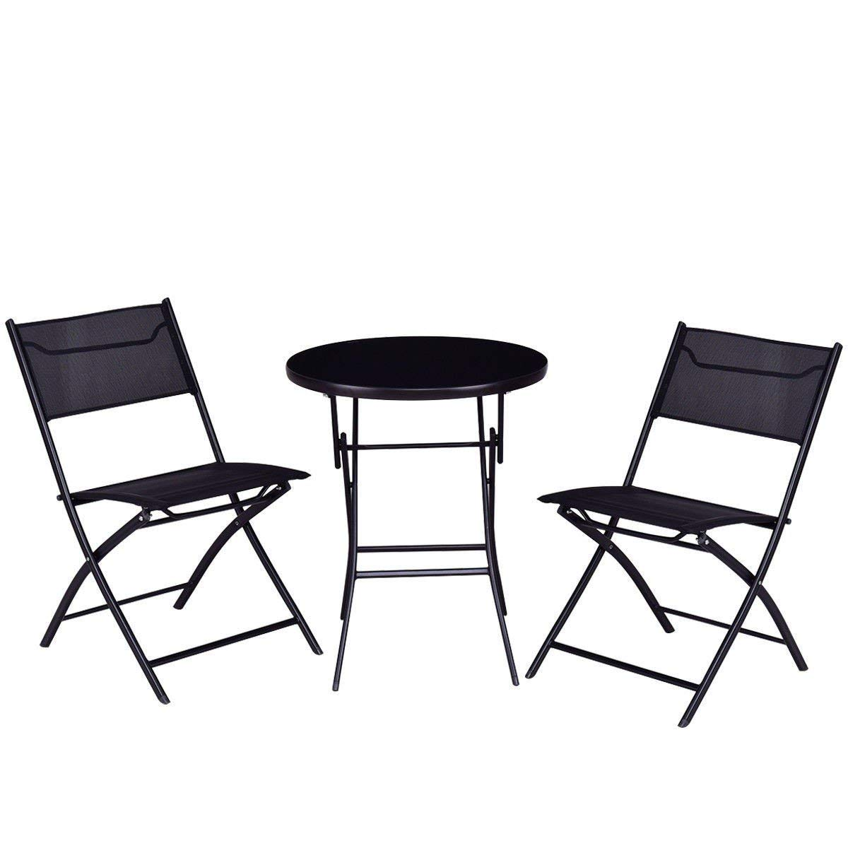 Get quotations · chooseandbuy outdoor patio 3 pieces folding round table and chair suit set