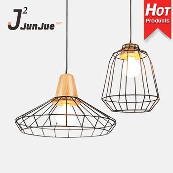 Modern Pendant Lights Kitchen Chandeliers Light Loft E27 Edison Black Iron Cage Solid Wood Indoor