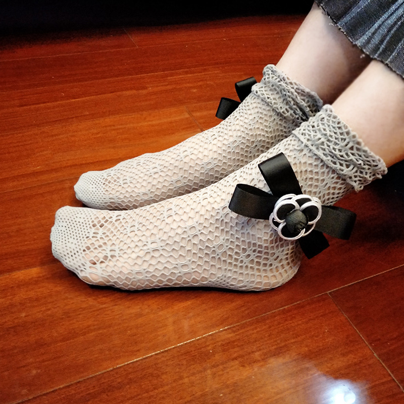 New Trendy Custom Fashion Lady Soft Bowknot Accessories Lace Mesh Nylon Sock