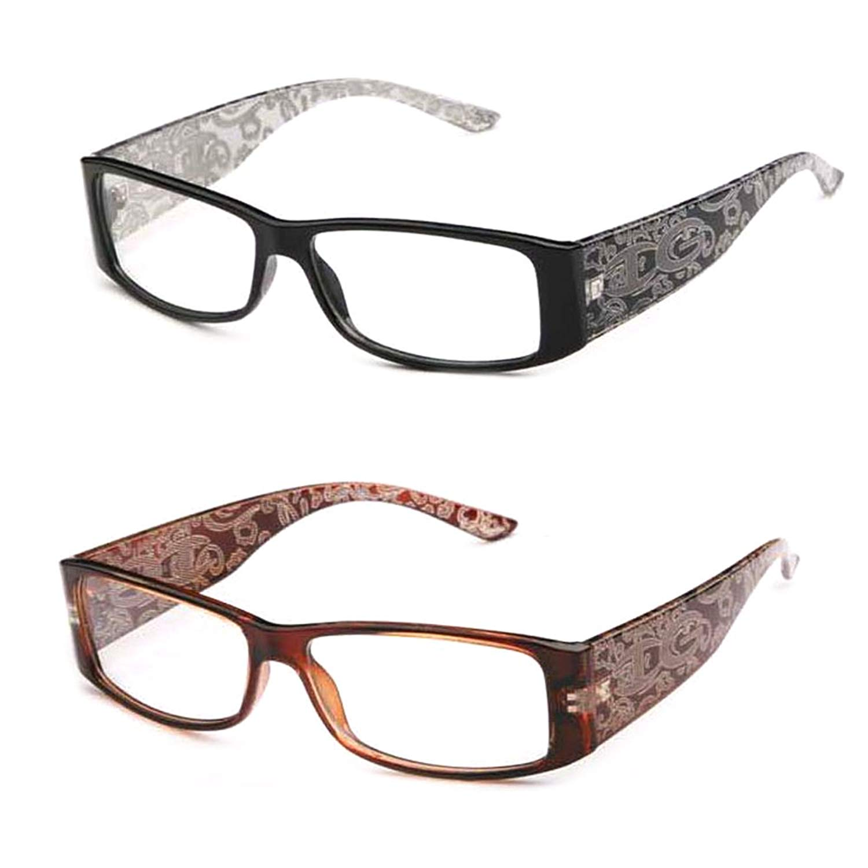 214c4b226d Get Quotations · Newbee Fashion- IG High Fashion Stylish Floral Design Women  Rectangular Plastic Frames Clear Lens Eye