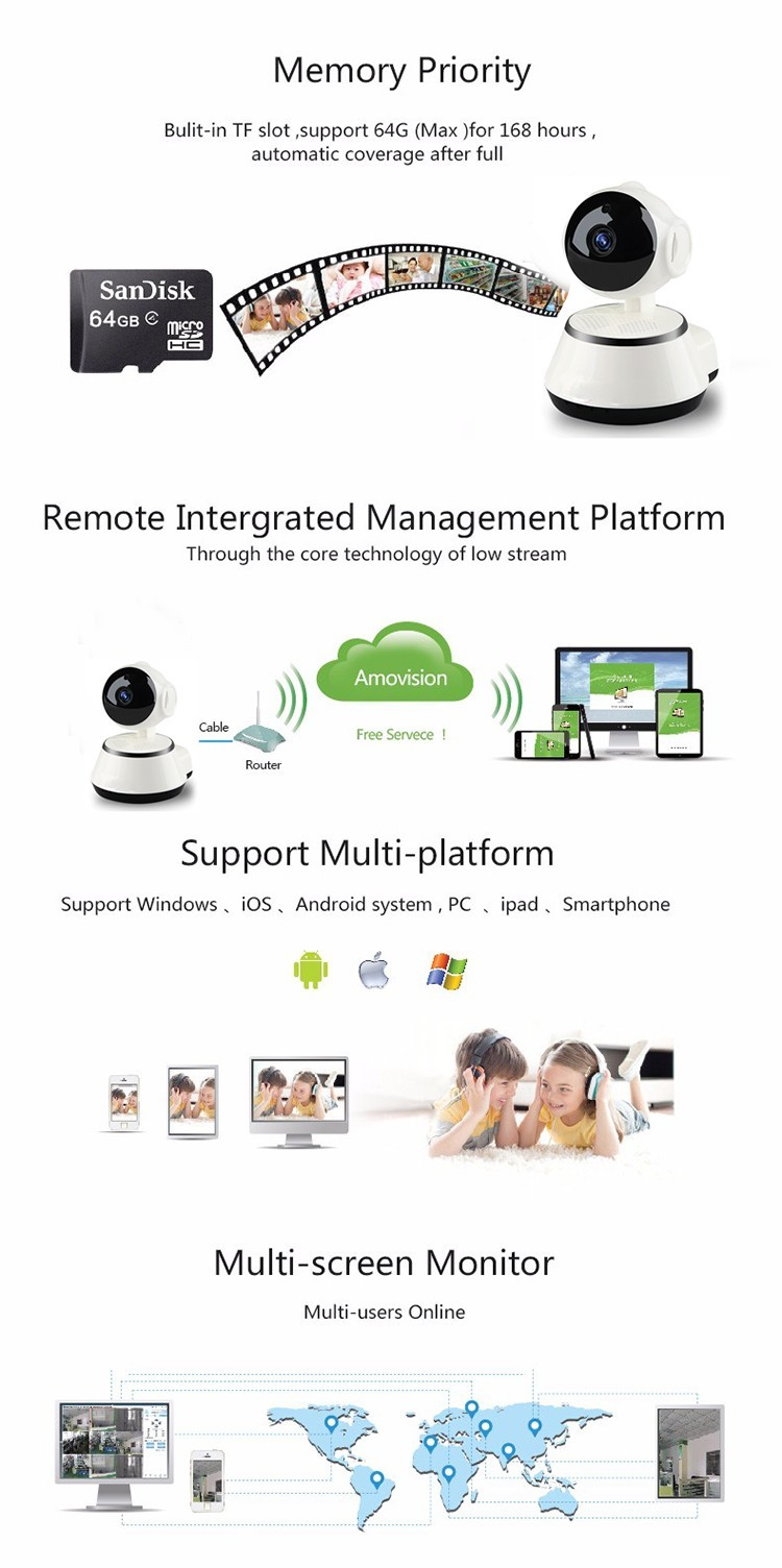 Factory direct selling P2P Network Wifi CCTV Camera IP Wireless Home Security Camera