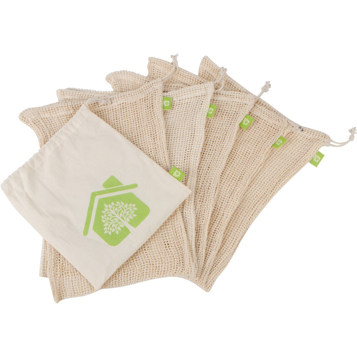 Qetesh Eco Friendly Reusable Cotton Produce Drawstring Mesh Bag