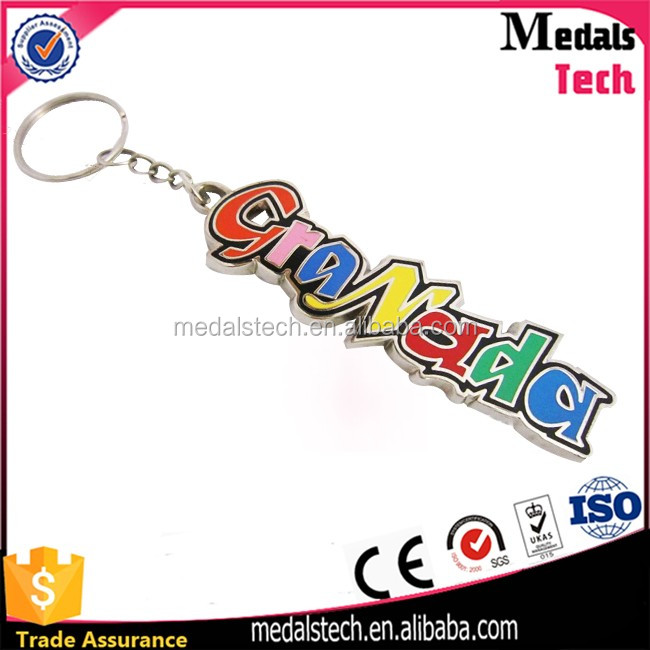 Factory direct custom plated brass skull metal keychain with keyring