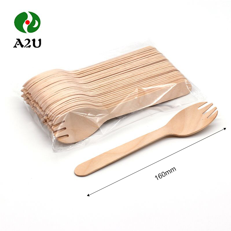 Disposable compostable white kraft paper wooden cutlery kit