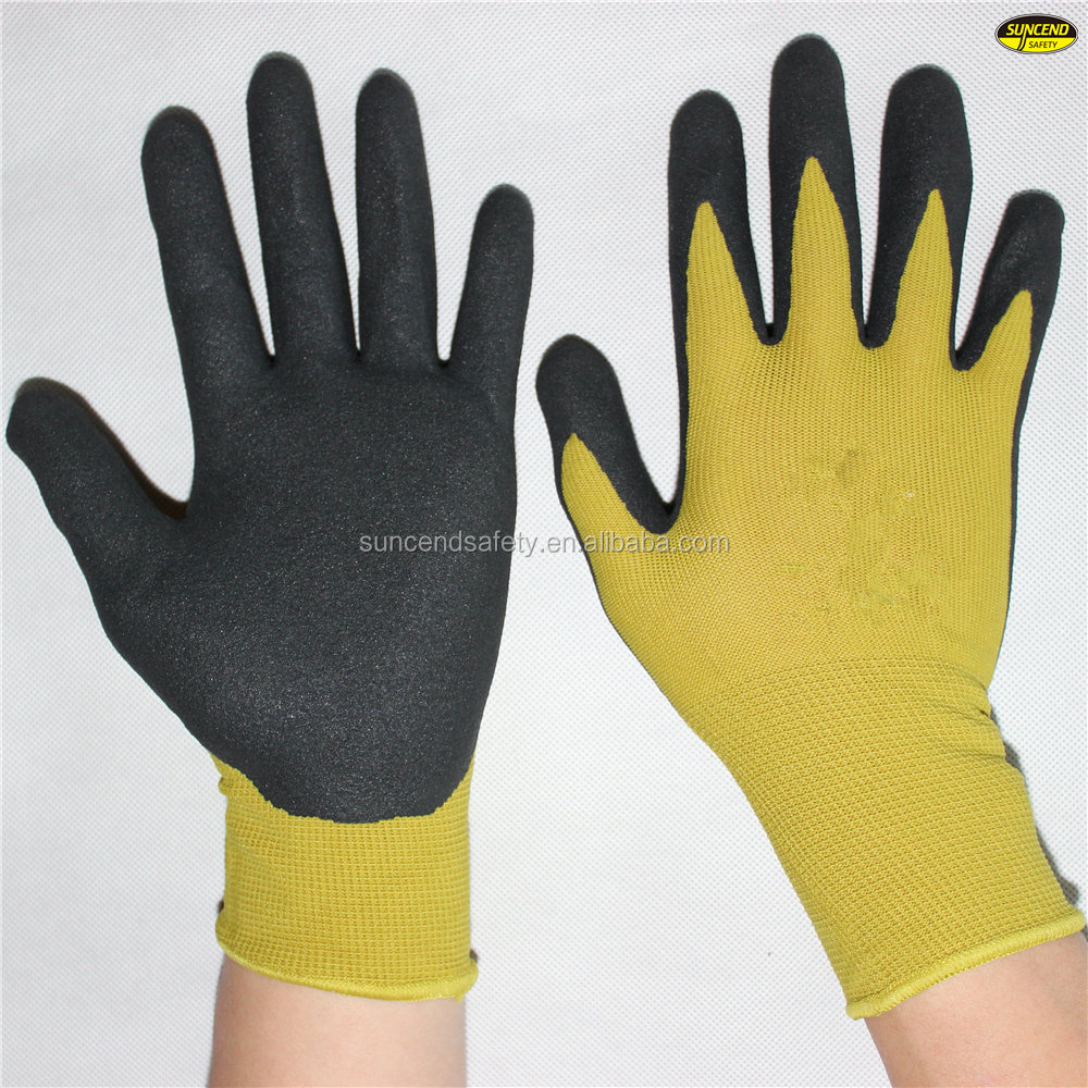 Factory price anti sweat oil resistant nitrile sandy coated safety work glove
