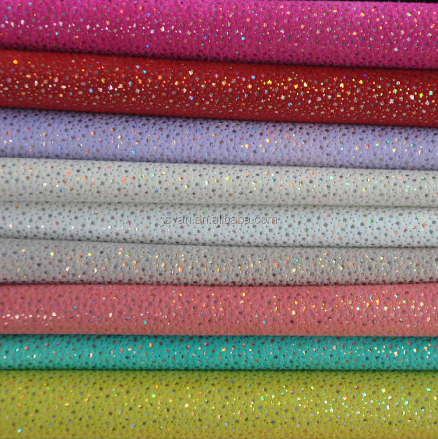 hot sale high quality wenzhou pu flocking artificial leather with glitter powder