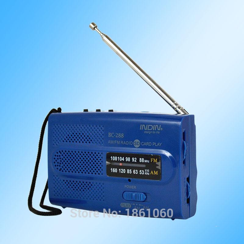 AM FM BC288 Universal portable radio kit Antenna Play Radio Receiver, Blue