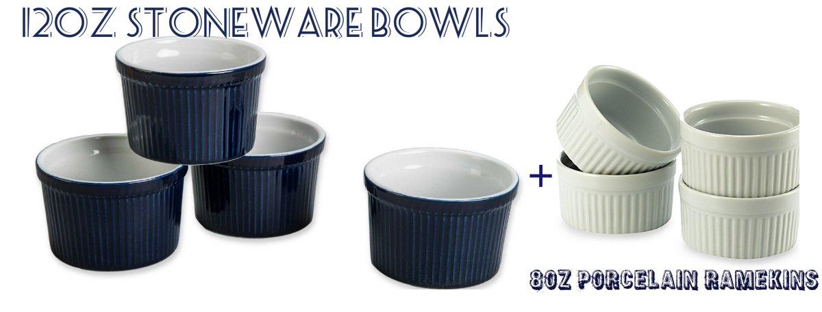 BIA Cordon Bleu (Bowl Set of 4) - 12 oz. Porcelain Ramekins Bowls 12 ounce (BLUE) & (Bowl Set of 4) - 8 oz. Porcelain Ramekins