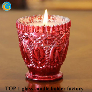 Recycled red crystal glass candle jars for candle making