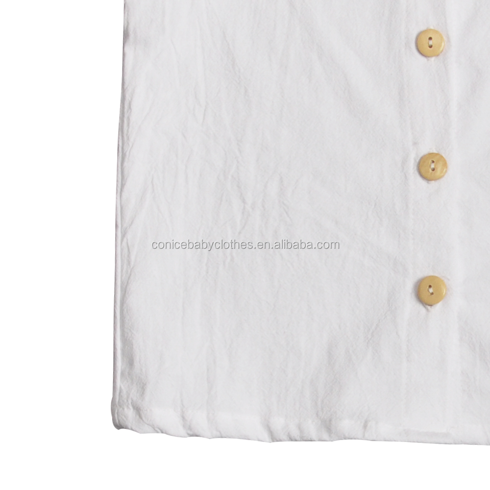 conice newest bloomer linen baby clothes ready to ship pure linen fabric clothing sets
