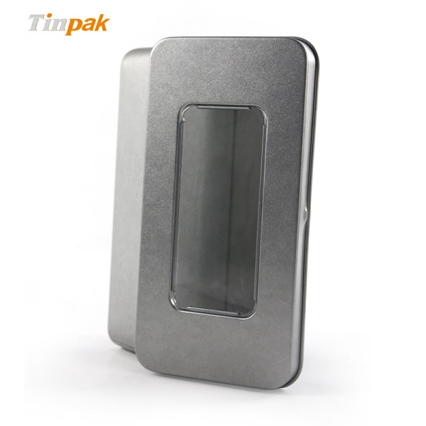 Retail plain rectangle metal boxes with clear cover