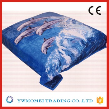 Dolphin Pattern Flannel Animal Super King Size Mink