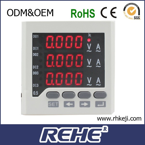 Three phase electric digital current&voltage&frequency combinated meter for U/I/Hz testing