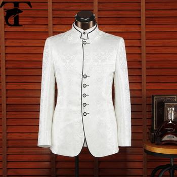 0249e65a7 zhongshan fu chinese style costume men's clothing formal dress suit white  wedding dress