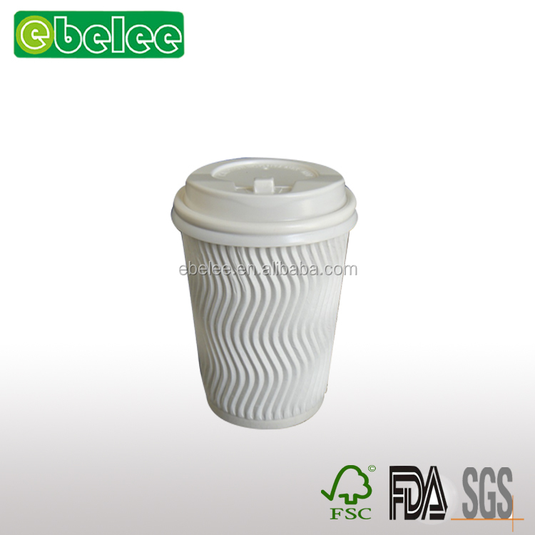 White kraft ripple wall/double wall paper cup with lids