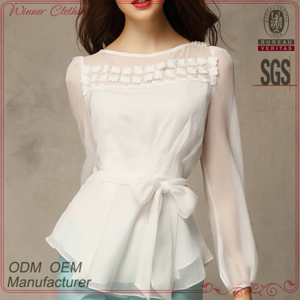 Beautiful Long Sleeve Office Wear Elegant Designs Good Price Latest Tops For S Blouses Fashion Product