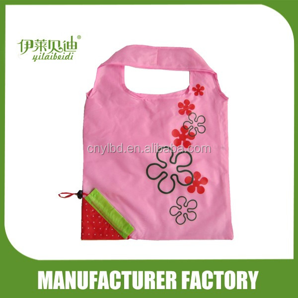 Wholesale Supply Stock Promotional Fruit Shape Strawberry Foldable Shopping Bag/Custom Polyester Folding Recycle Shopping Bag