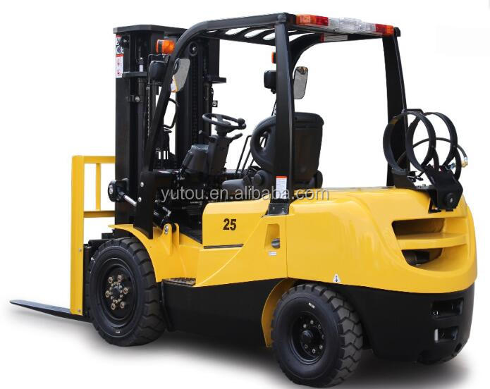 2.5Ton gasoline forklift with Japanese Nissan K25 engine in hydraulic transmision duplex and triple mast