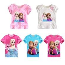 Baby girl Elsa Anna t shirt kids clothing children clothes toddler tops t shirt cute Party