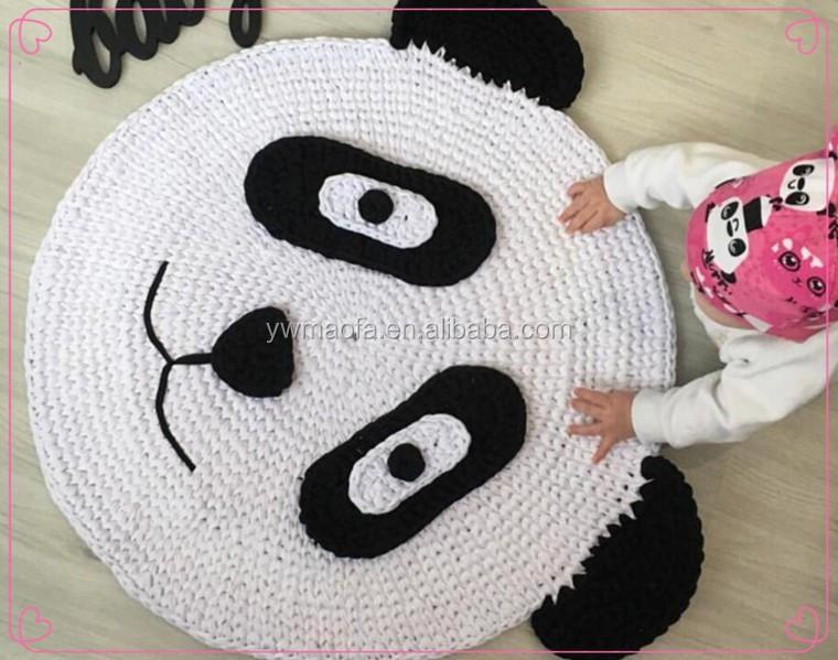 Factory Direct Selling Baby Crawling Play Mat Crochet T Shirt Yarn Panda  Pattern Rug