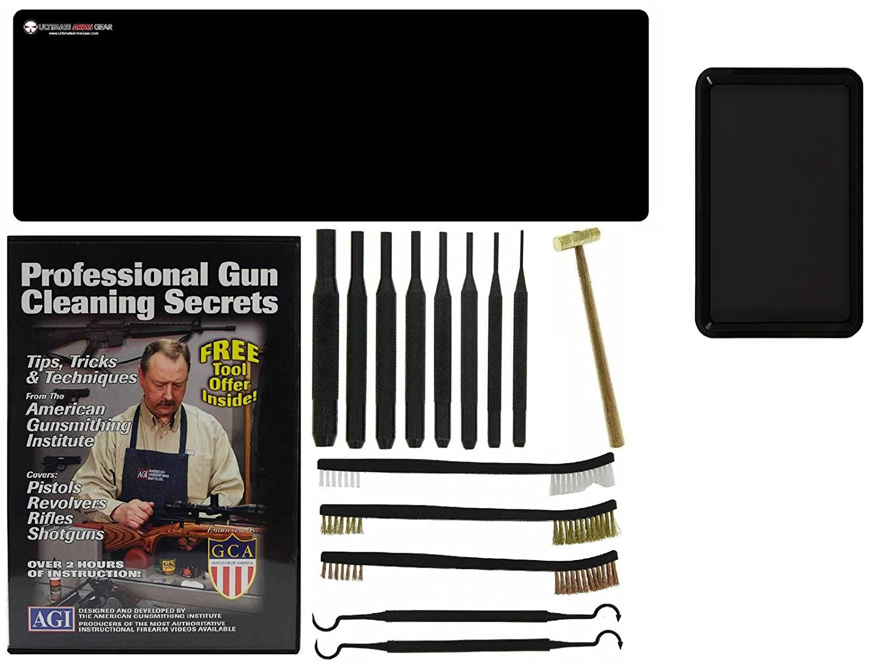 AGI DVD Professional Gun Cleaning Course Secrets Remington Model 700 Nylon 66 600 Magnum Rifle + Ultimate Arms Gear Gunsmith Mat + Punch Kit + Hammer + Brush & Pick Tool Set + Magnetic Tray
