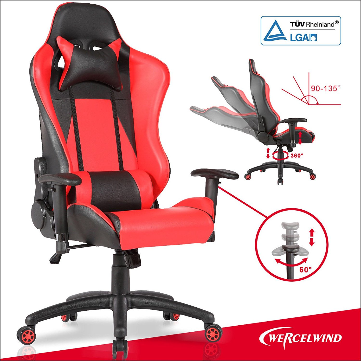 Red High Back Racing Car Gaming Office Chair Computer Chair Executive Rocker.gaming chairadjustable armrest .gaming chairhigh weight capacity.gaming chairon wheels.gaming chairhigh back