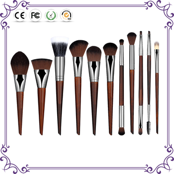 11pcs wholesale facial brushes wood handle synthetic hair make up brushes private label maquillage