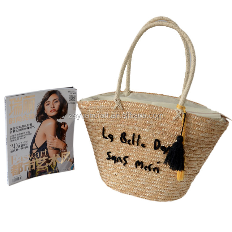 Wholesale tassel natural straw beach bag tote beach bag wheat ...