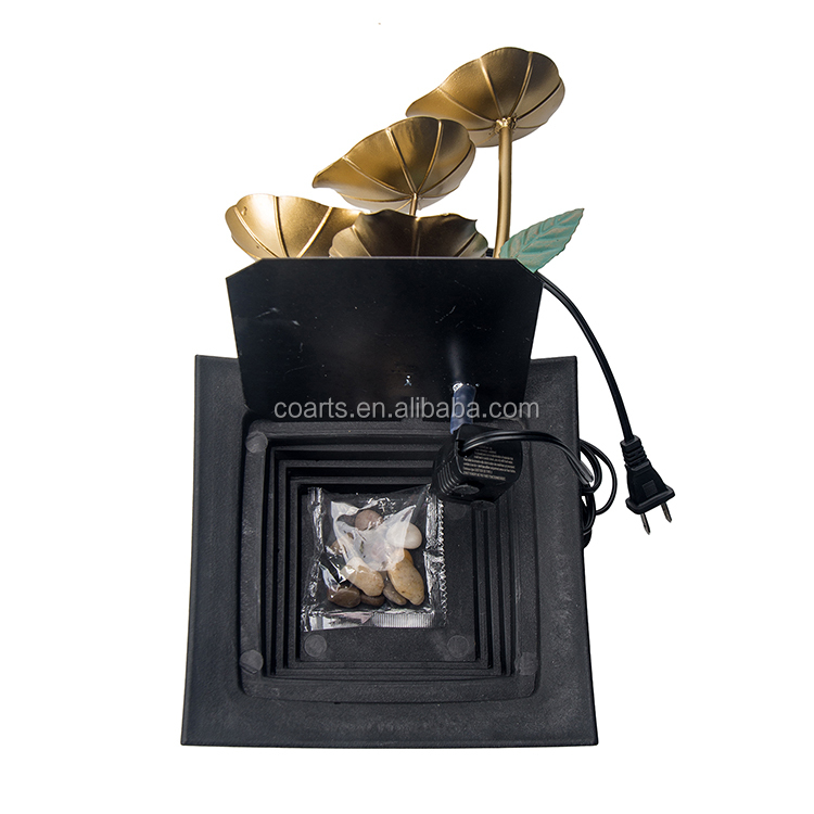 2019 hot sale Home  fountain water furnishing decoration metal flower and leaf water fountain