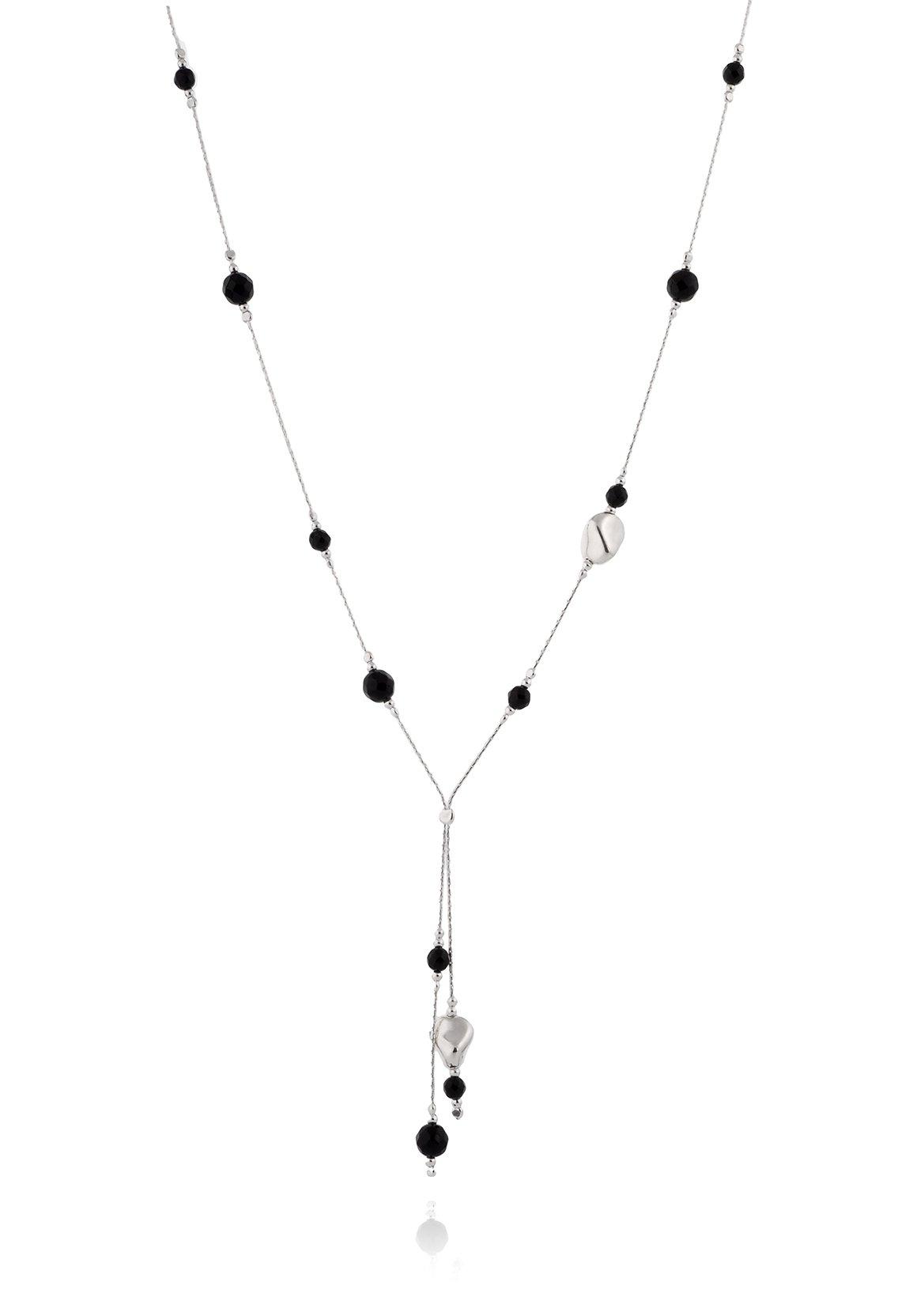 CaratYogi Pure Black Onyx Pendant Pear Drop Shape 925 Sterling Silver For Women Chakra Healing Necklace