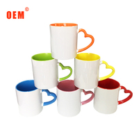 Wholesale 11oz promotion two tone heart handle sublimation mug for printing
