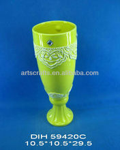 Cup shaped ceramic flower vase with color-glazed