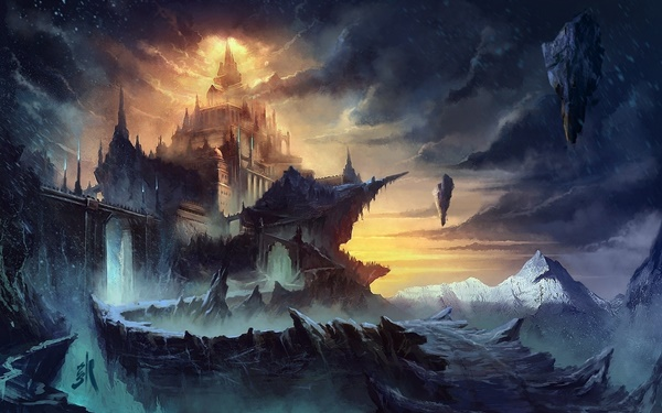 fantasy art paintings landscapes architecture buildings castles surreal waterrfalls nature scenic Home Decoration Canvas Poster