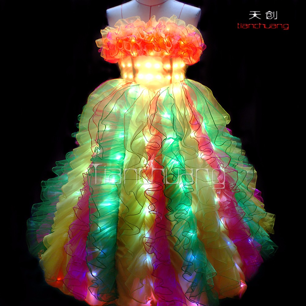 GOOD PRICE led lights prom dress for sale