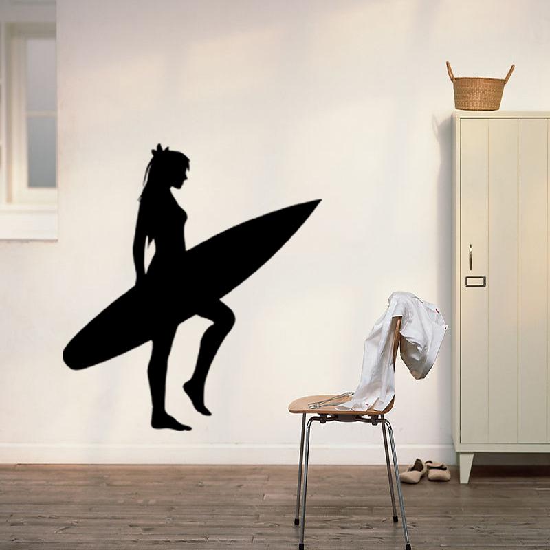 2024 Ocean Sport Surfing Vinyl Wall Sticker Surfboard Girls Mural Decal Kids Bedroom Removeable Home Decor