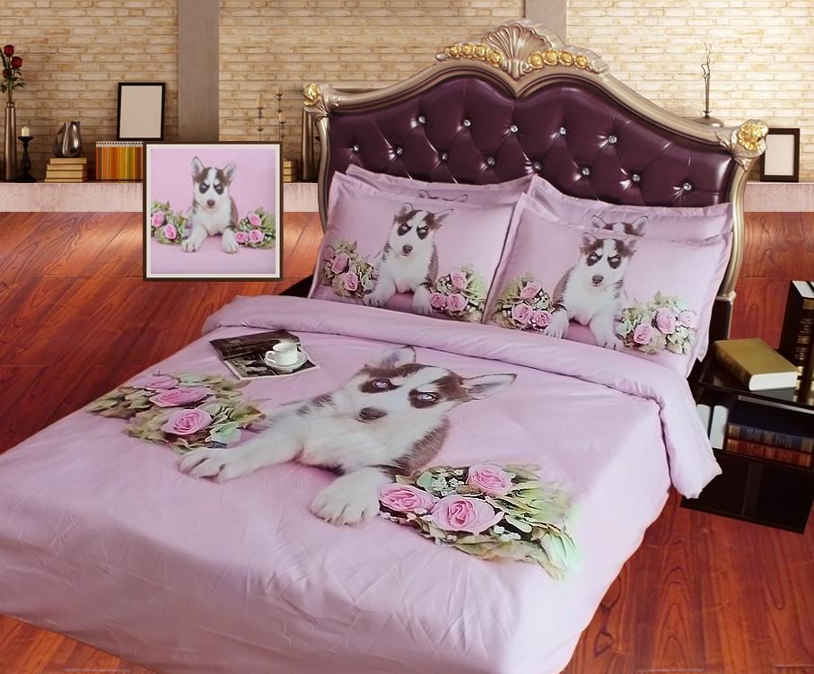 Bed Met Rozen.Zoete Blue Eyed Husky Hond En Rozen 3d Hd Digitale Dierlijke Bed Set