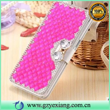 New products butterfly knot diamond crystal bling flip case for iphone 5 stand cover pu leather case with card slot