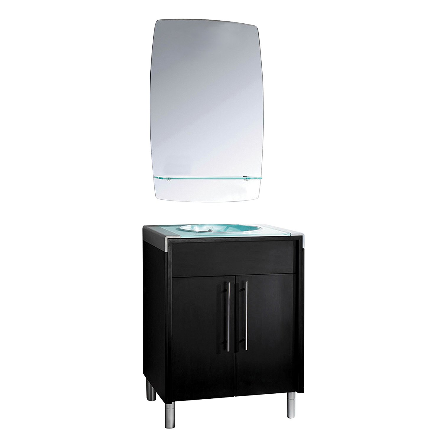 Yosemite Home Decor RASSGA12-44A 25.5-Inch Single Vanity with Mirror and Frosted Glass Basin