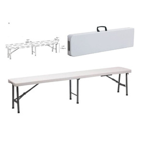 6 ft Folding in Half plastic Bench, Multi-Purpose Indoor & Outdoor Picnic Party folding 4 seat folding working bench